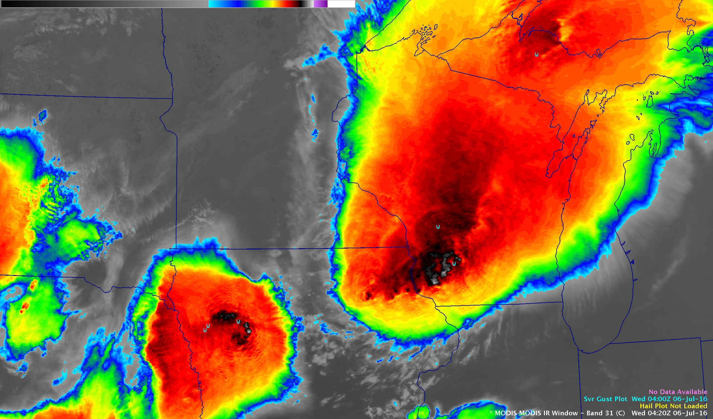 Infrared MODIS (11.0 um), AVHRR (12.0 um) and VIIRS (11.45 um) images, with SPC storm reports [click to play animation]