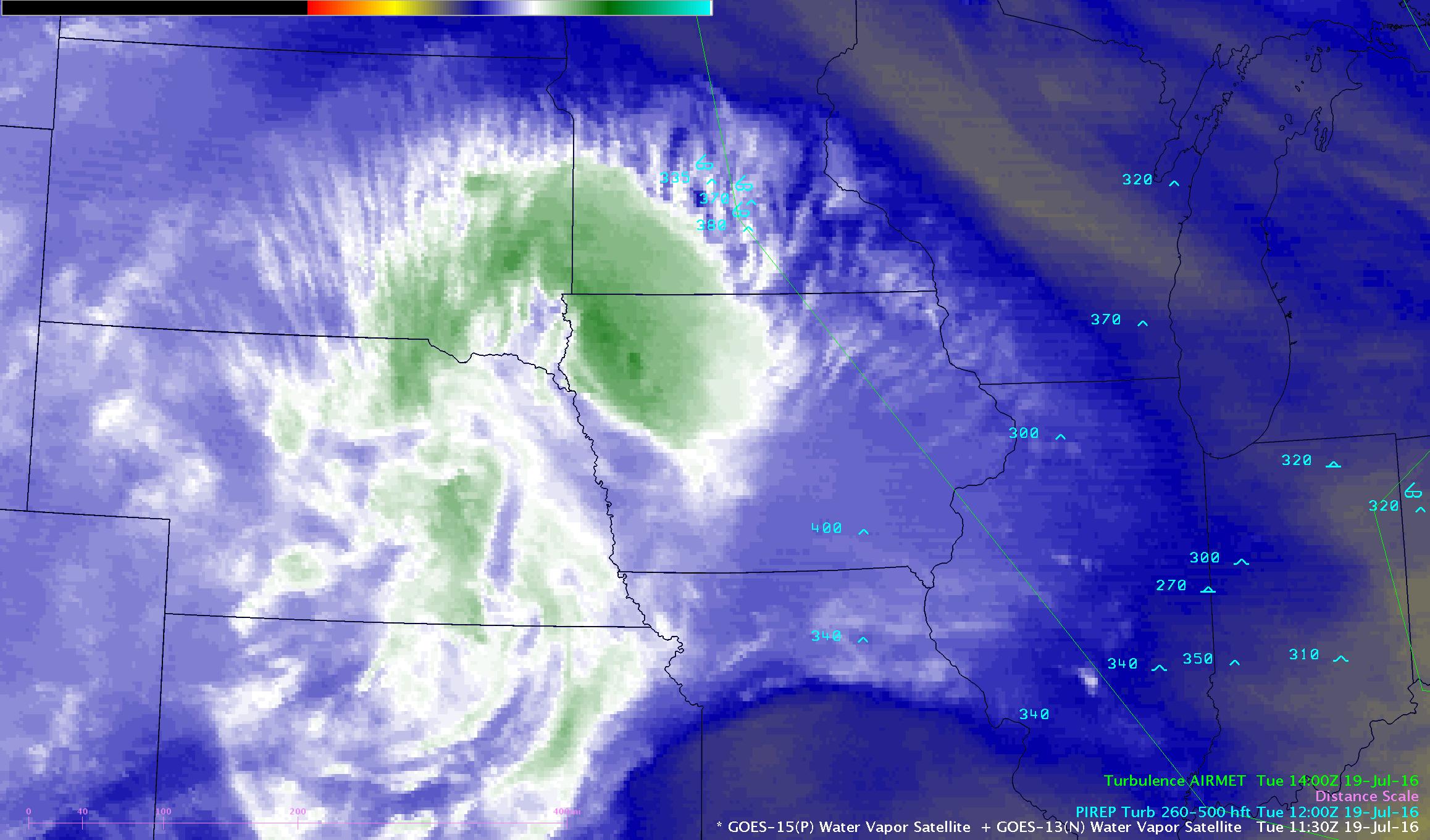 GOES-13 Water Vapor (6.5 um) images, pilot reports of turbulence, Turbulence AIRMET boundaries [click to play animation]