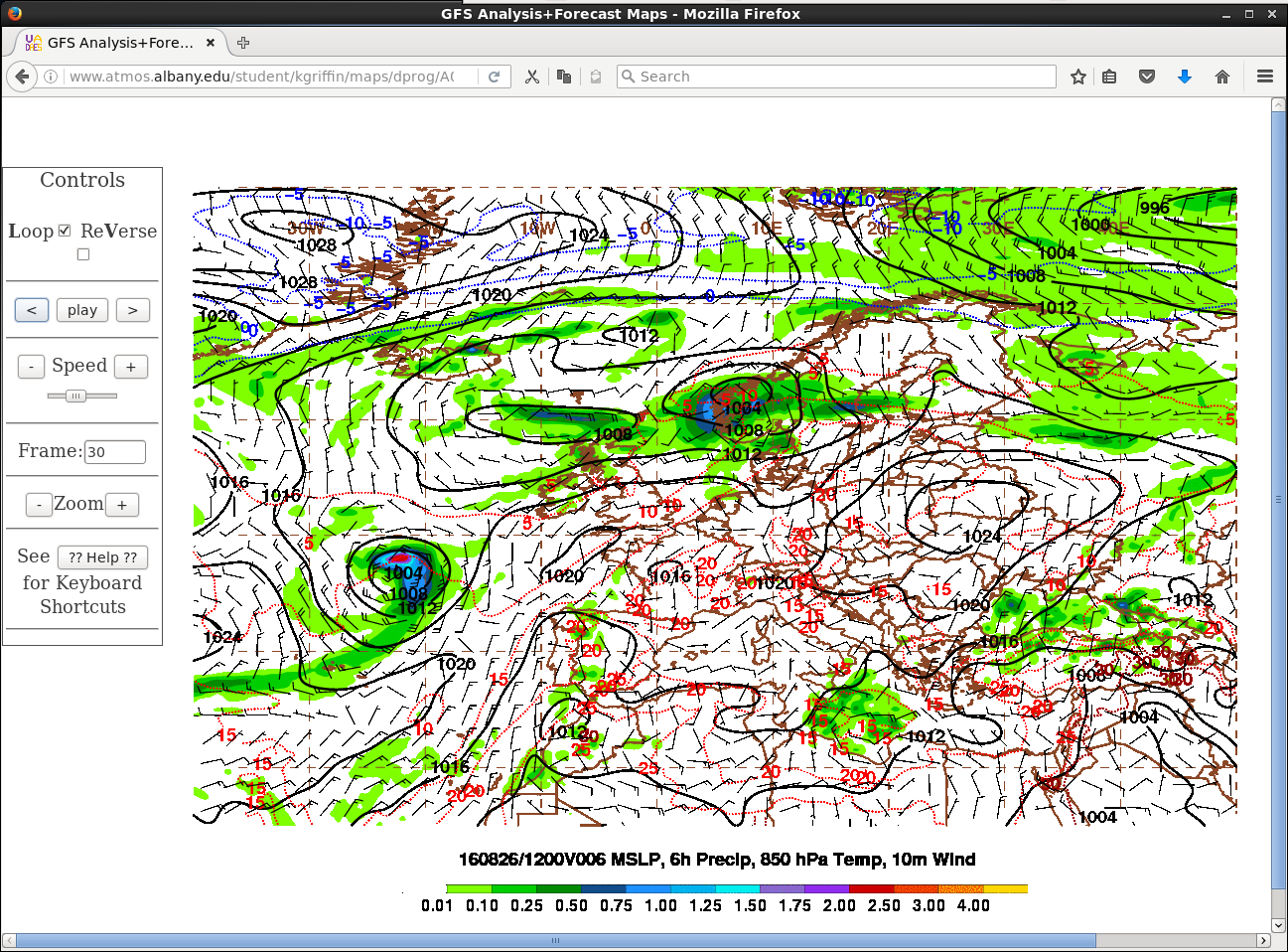 GFS model fields of surface pressure, 6-hour precipitation, 850 hPa temperature, and 10-m wind [click to play animation]