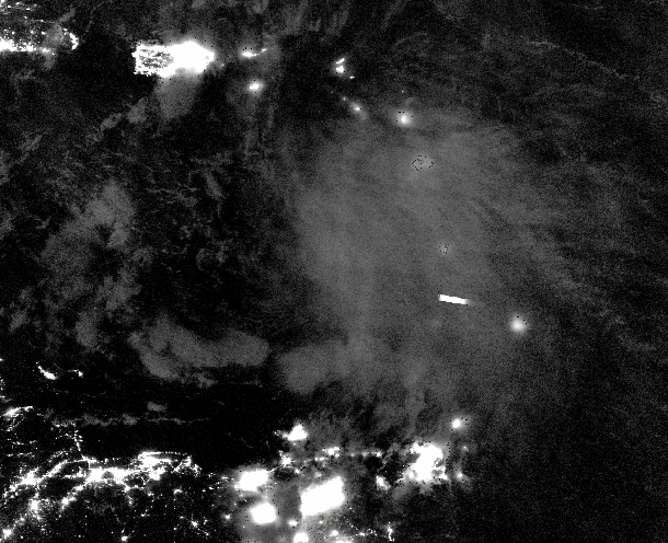 Suomi NPP Day Night Band Visible (0.70 µm) imagery, ~0540 UTC on 29 September 2016 [Click to enlarge]