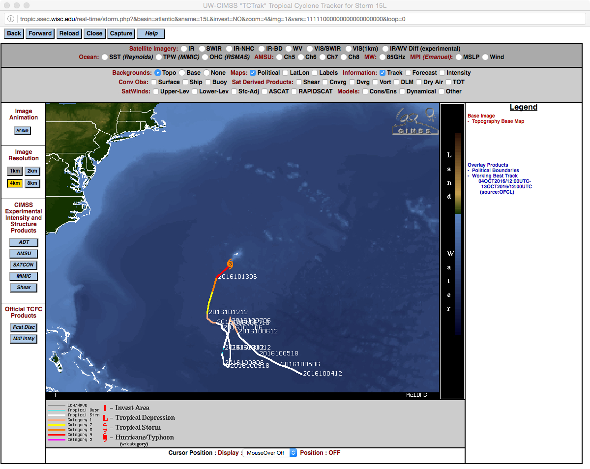 Track of Nicole, from 12 UTC on 04 October to 12 UTC on 13 October [click to enlarge]