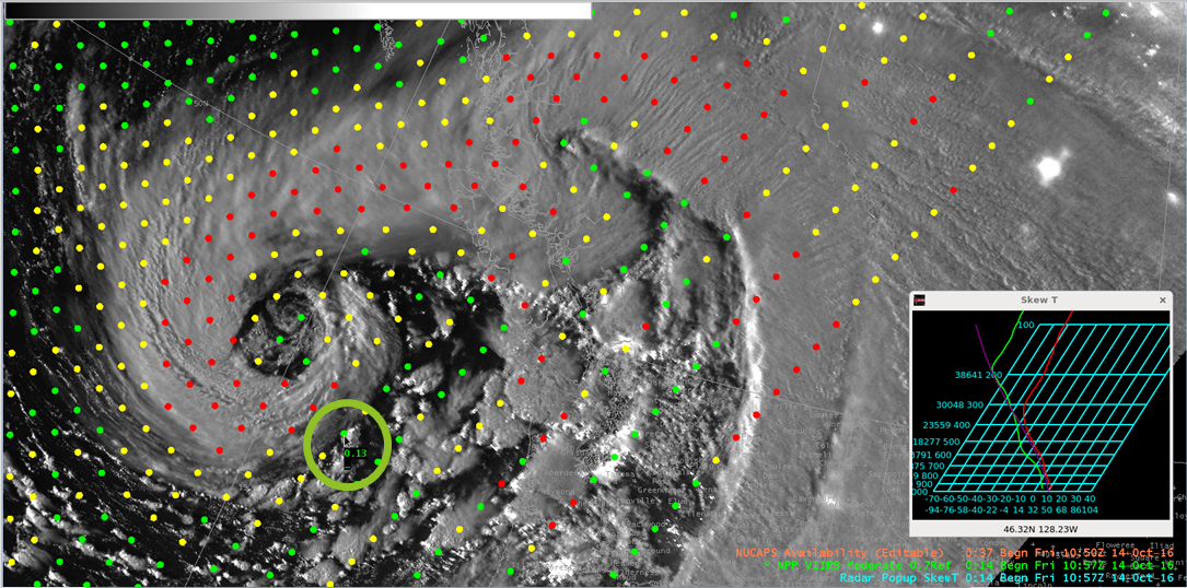Suomi NPP Day/Night Band Visible Image, 1057 UTC on 14 October 2016, with NUCAPS Sounding Locations indicated.  The Green Circle shows the location of the Sounding below [click to enlarge]