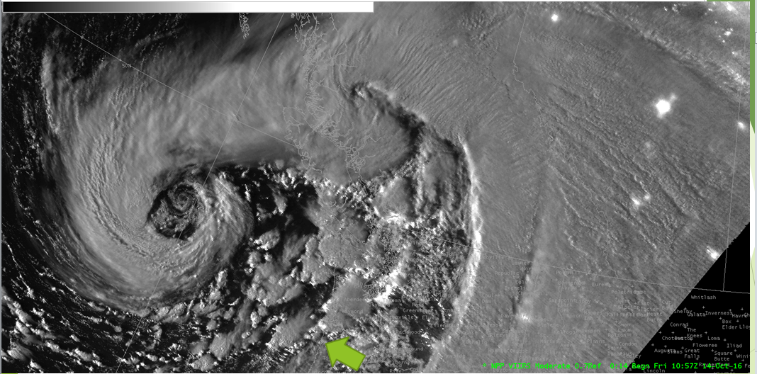 Suomi NPP Day/Night Band Visible (0.70 µm) Image, 1057 UTC on 14 October 2016, Green Arrow points to Manzanita OR [click to enlarge]