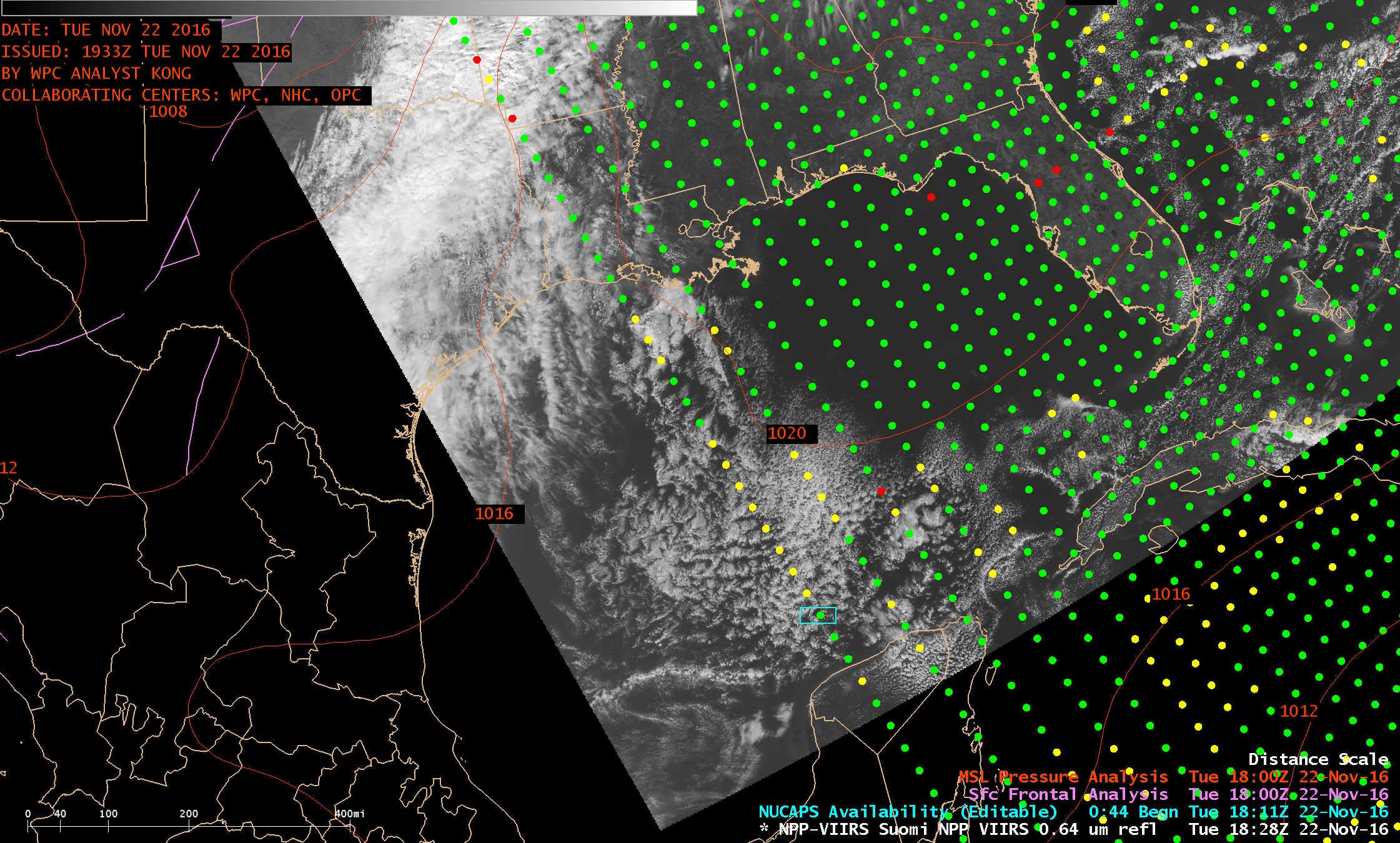 Suomi NPP VIIRS Visible (0.64 µm) image, with NUCAPS sounding locations and surface analysis [click to enlarge]
