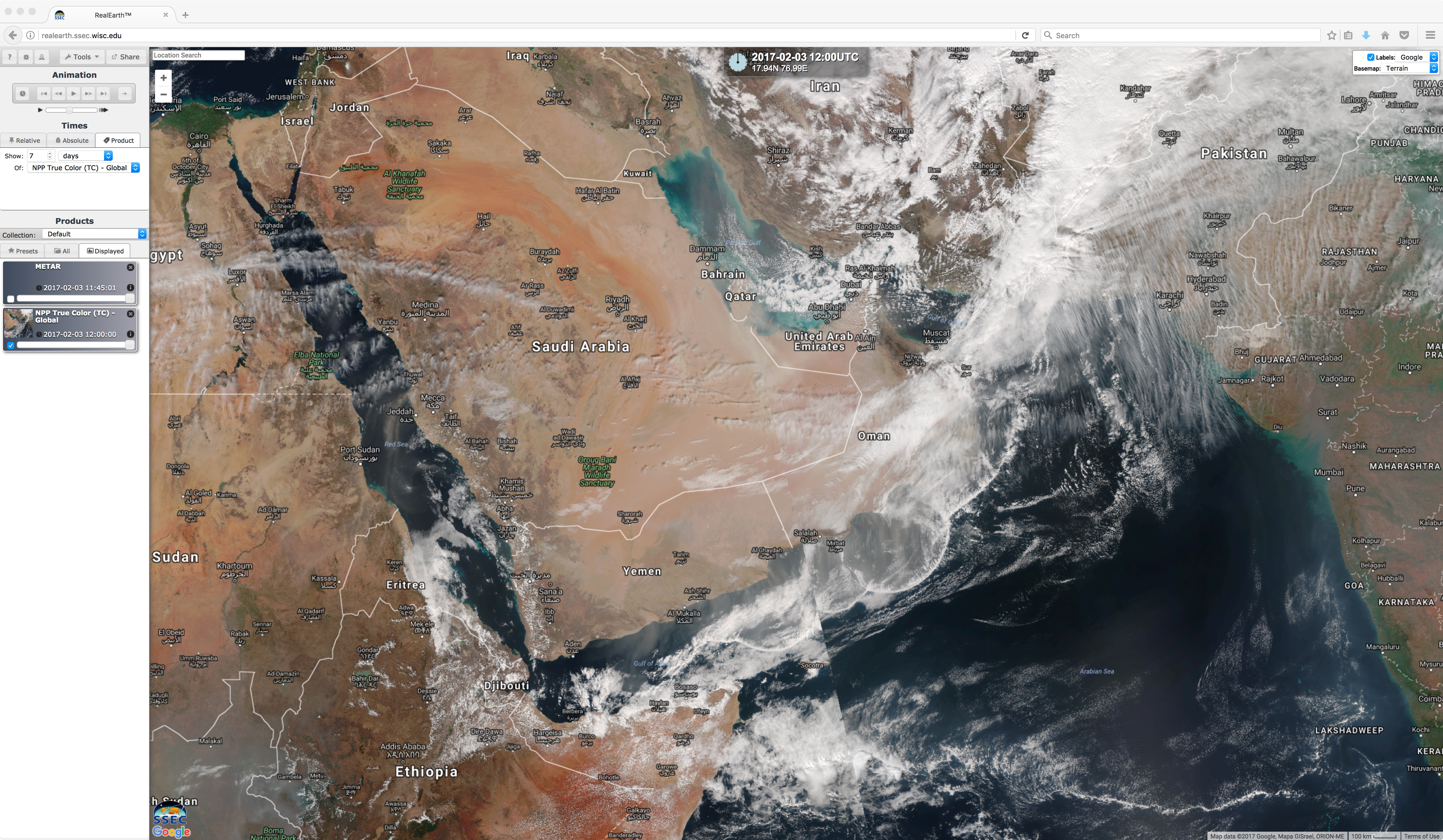 Daily composites of Suomi NPP VIIRS true-color images [click to play animation]