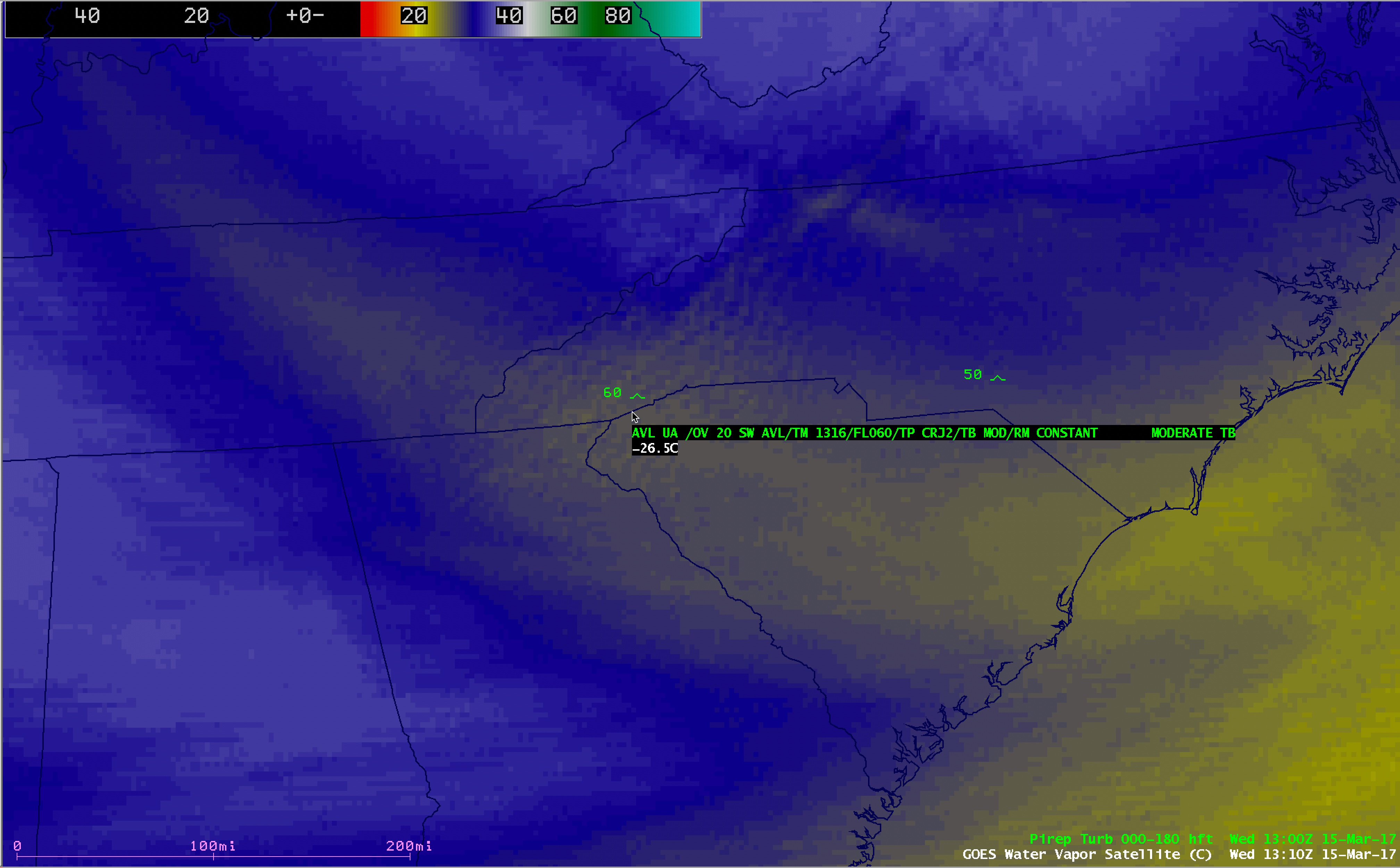 GOES-13 Water Vapor (6.5 µm) image, with pilot report of turbulence [click to enlarge
