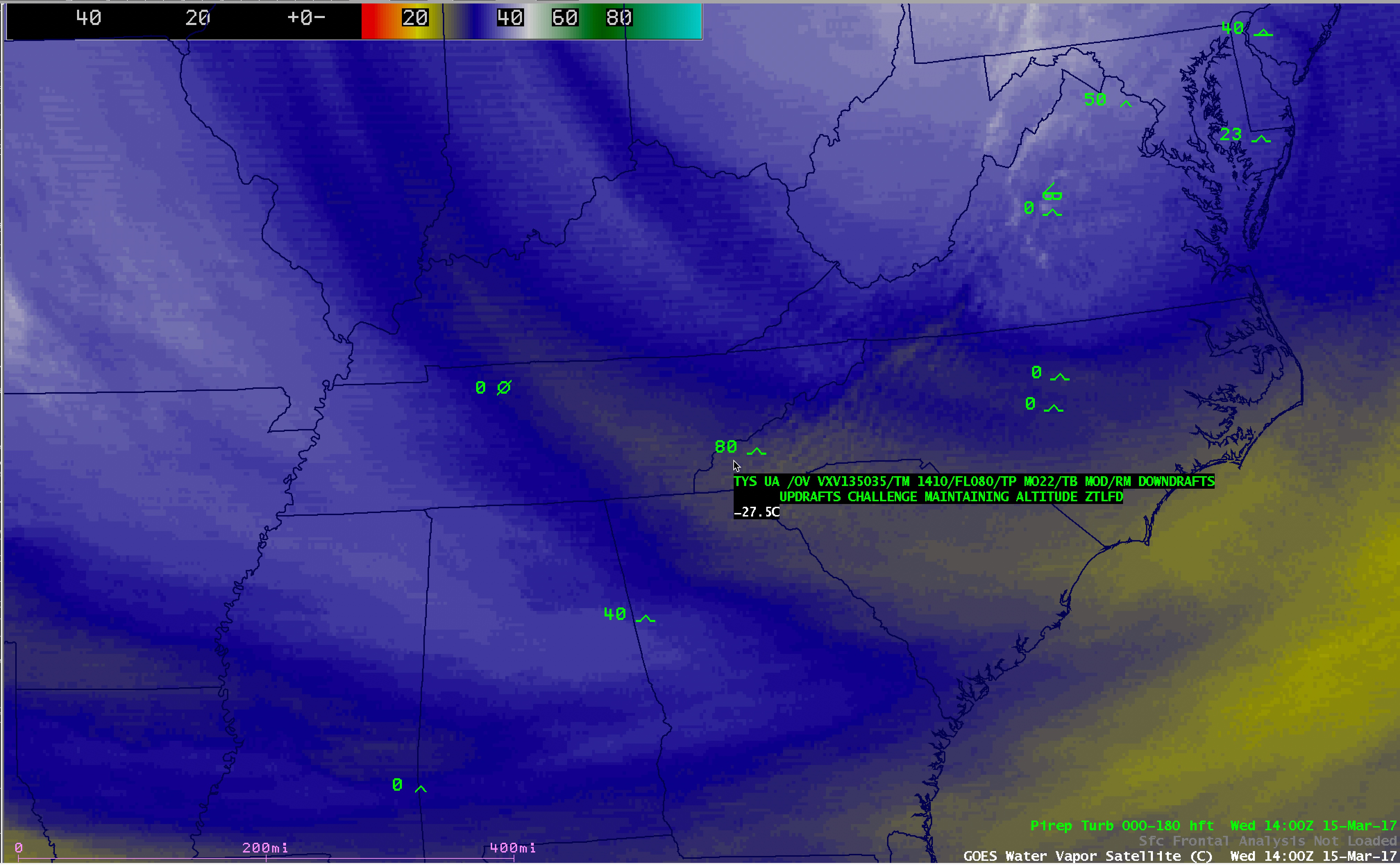 GOES-13 Water Vapor (6.5 µm) image, with pilot report of turbulence [click to enlarge]