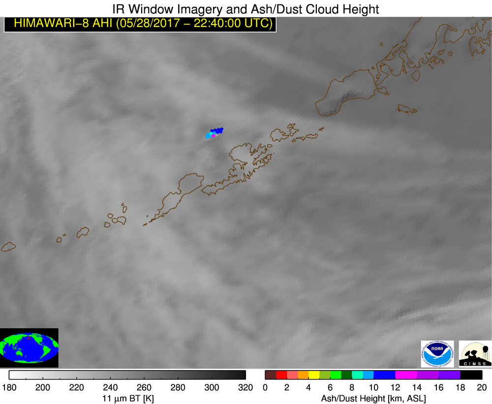 Himawari-8 Infrared Window (10.4 µm) images and Ash Cloud Height retrievals [click to play animation]