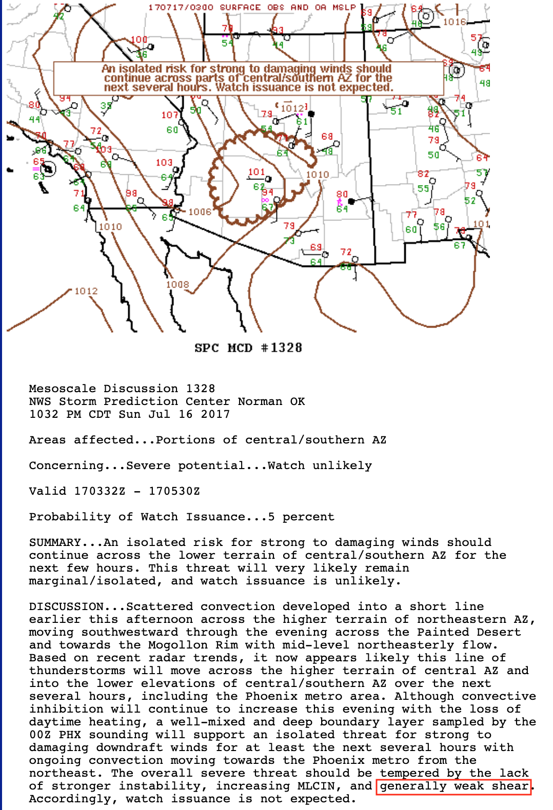 SPC Mesoscale Discussion [click to enlarge]