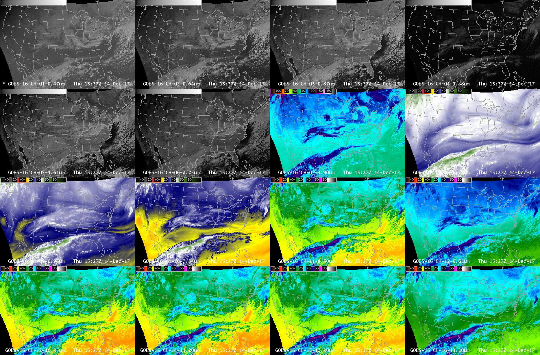 Multi-panel images showing all 16 bands of the GOES-16 ABI [click to enlarge]