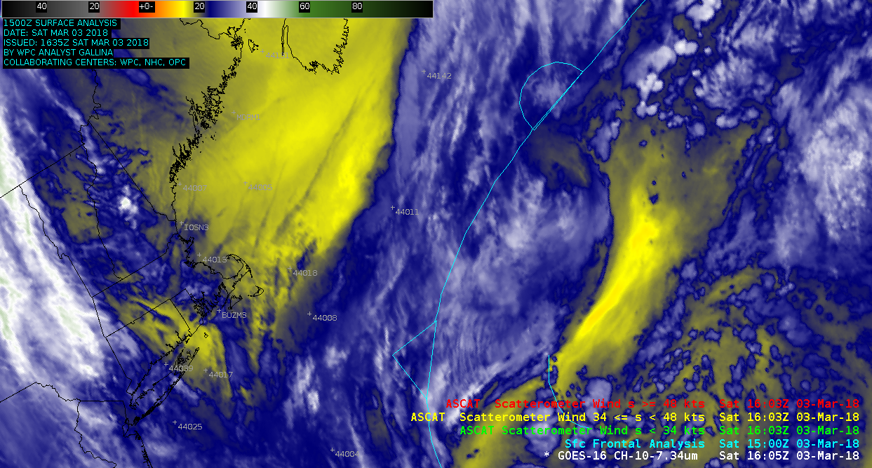 GOES-16 Mid-level (6.9 µm) images, with surface fronts and Metop ASCAT surface scatterometer winds [click to play animation]