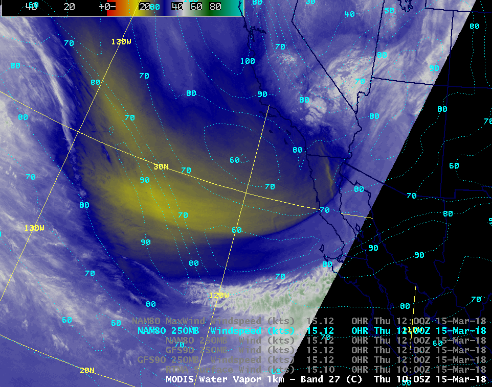 Aqua MODIS Water Vapor (6.7 µm) image, with NAM80 contours of 250 hPa wind speed [click to enlarge]