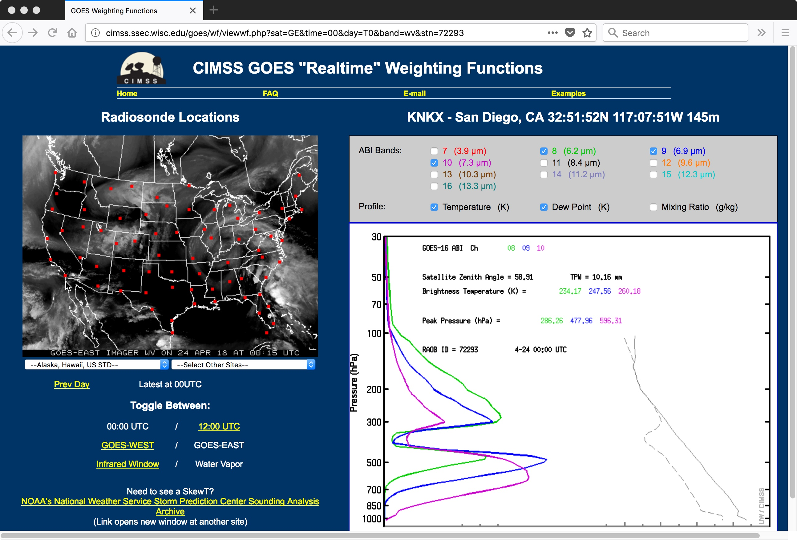 GOES-16 Water Vapor weighting functions, calculated using rawinsonde data from San Diego CA [click to enlarge]