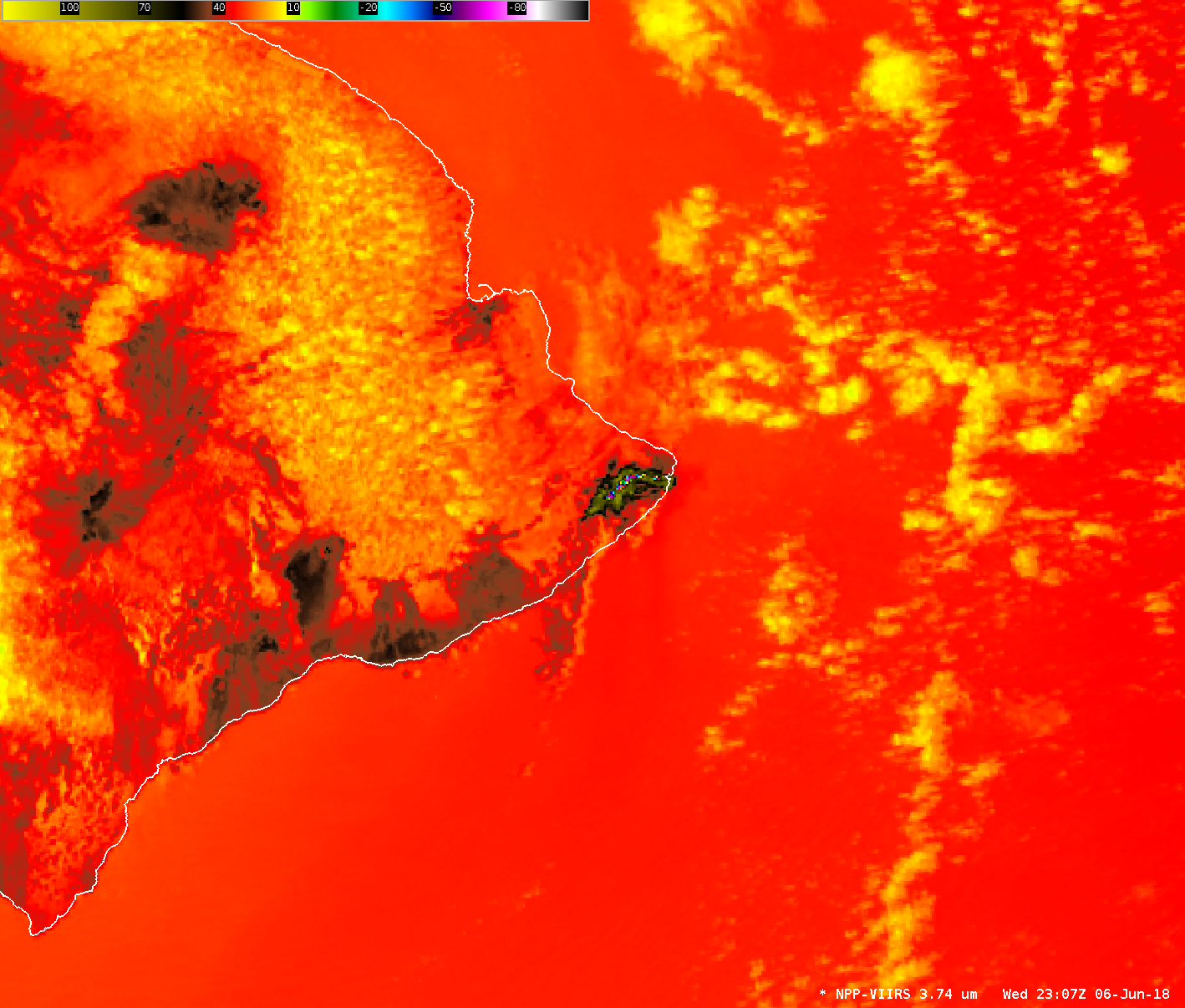 Suomi NPP VIIRS Shortwave Infrared (3.74 µm) image [click to enlarge]