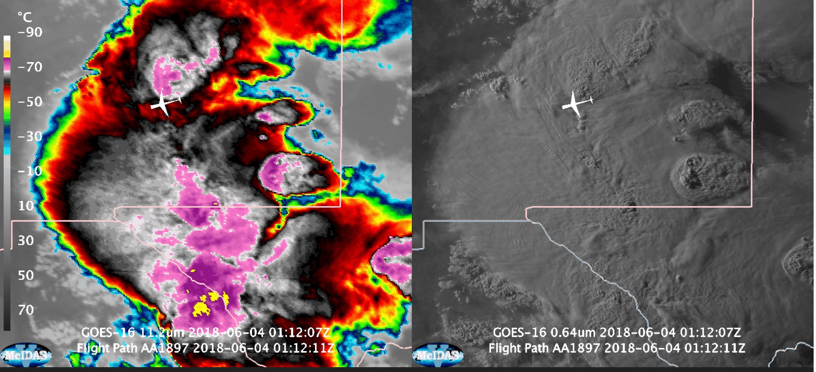 GOES-16 Infrared (11.2 µm, left) and Visible (0.64 µm, right) images, with plots of the aircraft location [click to play animation]