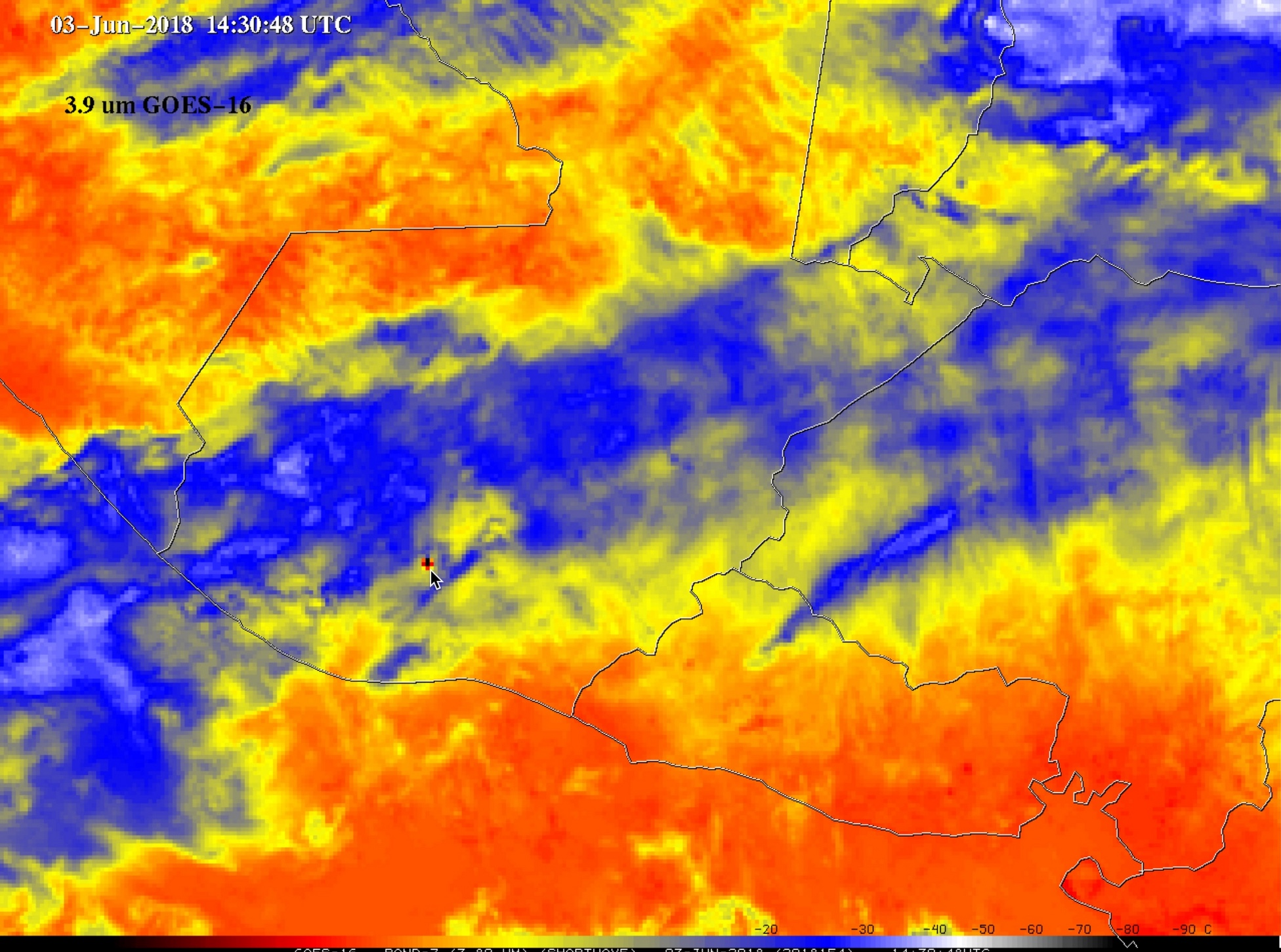 GOES-16 Shortwave Infrared (3.9 µm) images [click to play MP4 animation]