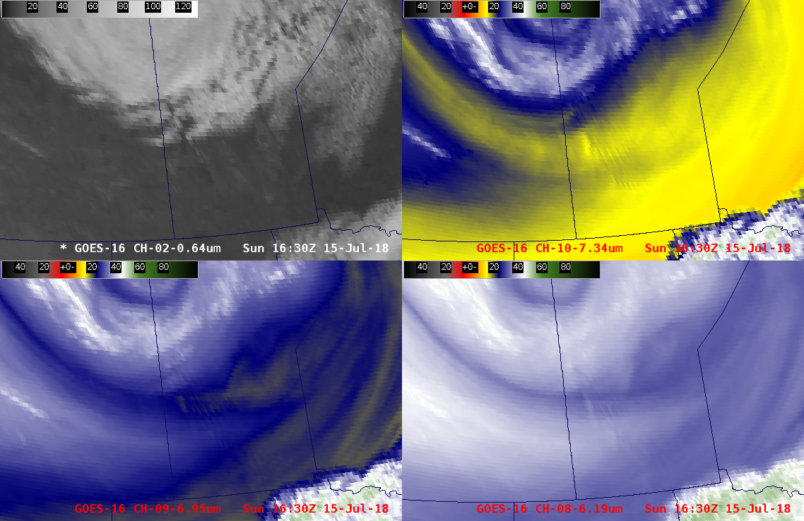 """GOES-16 """"Red"""" Visible (0.64 µm, upper left), Low-level Water Vapor (7.3 µm, upper right), Mid-level Water Vapor (6.9 µm, lower left) and Upper-level Water Vapor (6.2 µm, lower right) images [click to play animation]"""