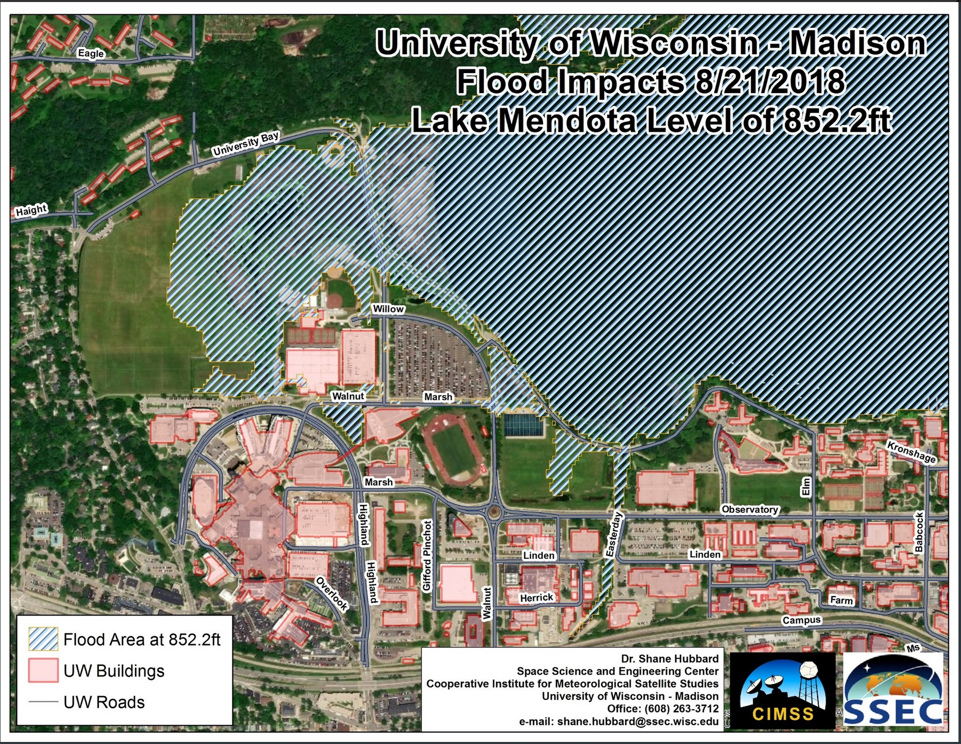 Map of flood impacts for portions of the UW-Madison campus adjacent to the southwestern shoreline of Lake Mendota [click to enlarge]