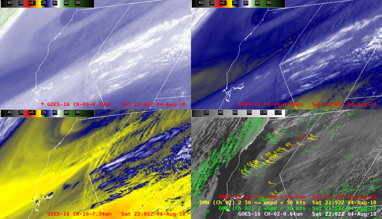 """GOES-16 Upper-level (6.2 µm, top left), Mid-level (6.9 µm, top right), Low-level (7.3 µm, bottom left) Water Vapor and """"Red"""" Visible with Derived Motion Winds (0.64 µm, bottom right) [click to play MP4 animation]"""