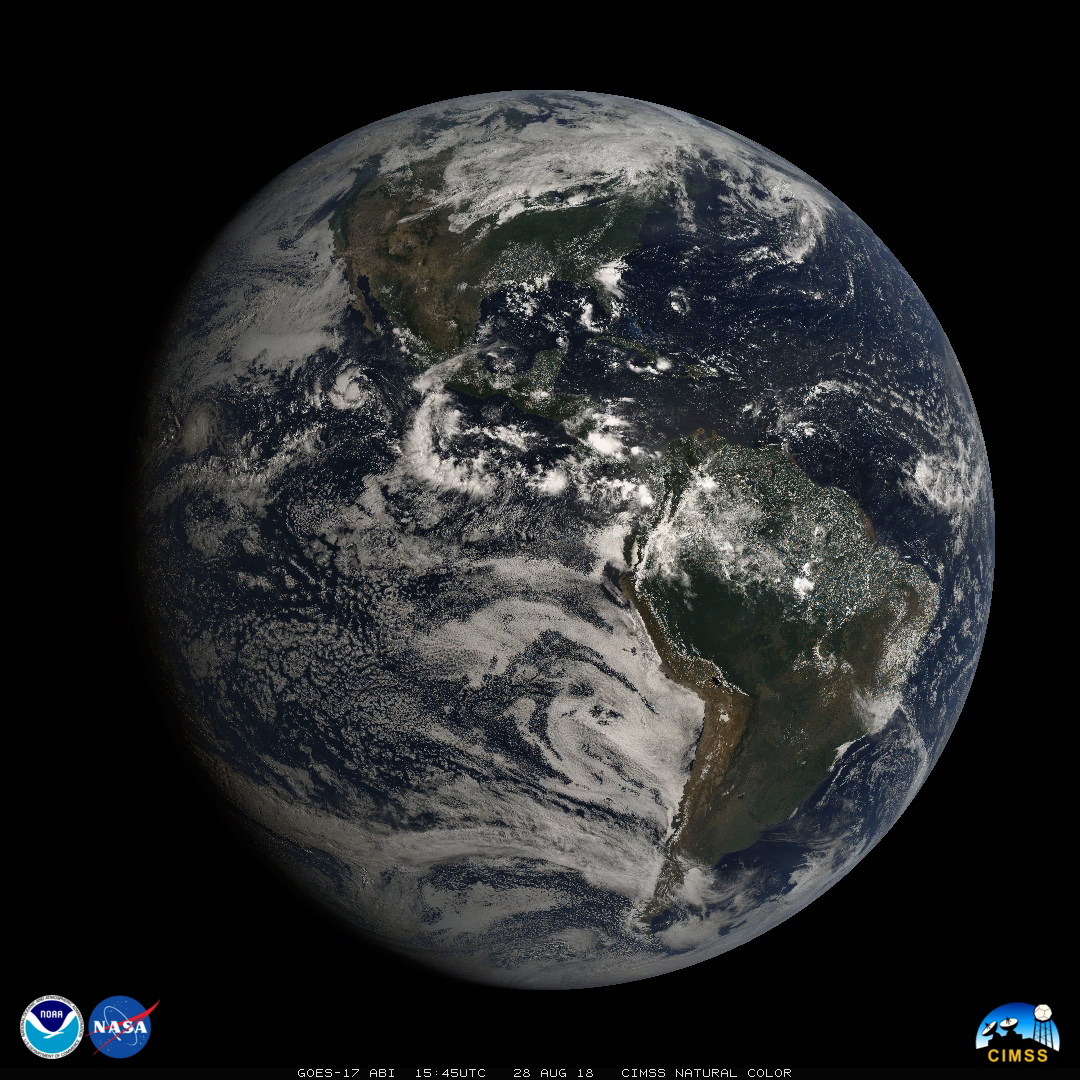 GOES-17 Natural Color RGB and individual ABI band images (Click to animate)