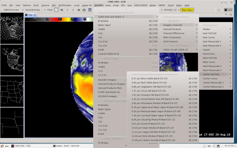 AWIPS Satellite menu [click to enlarge]