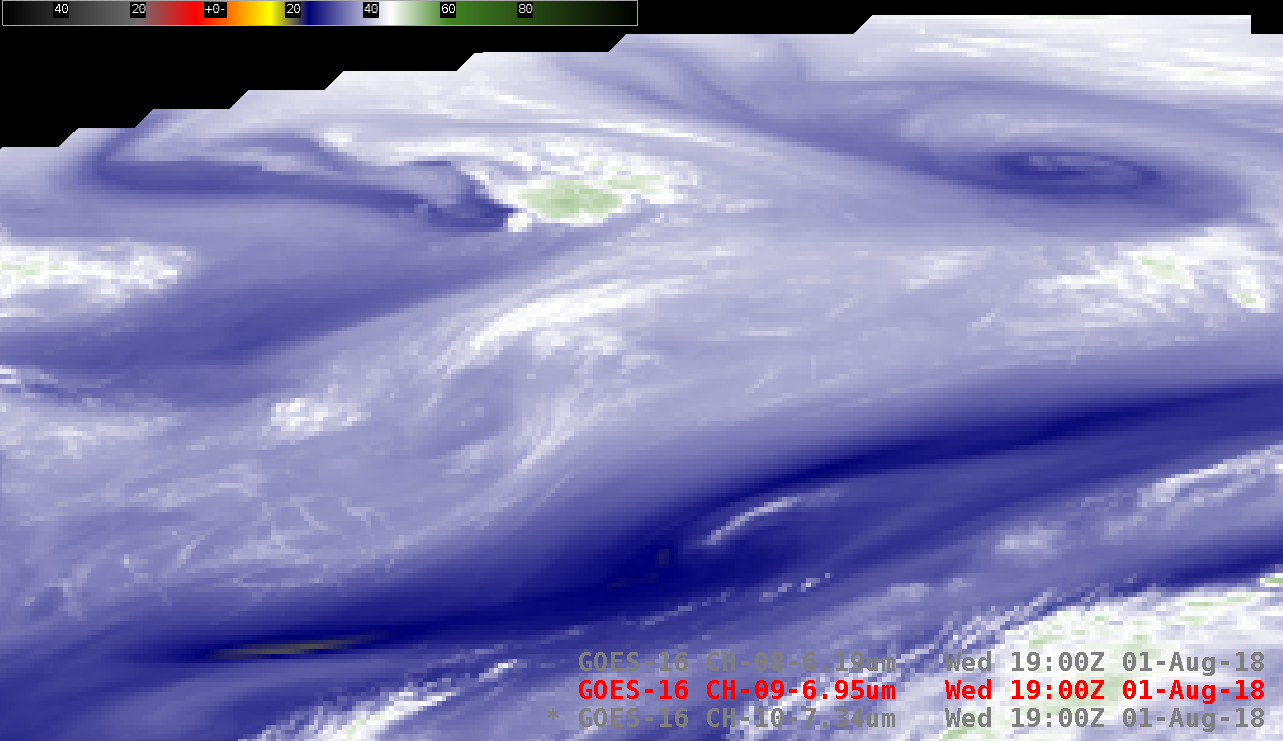 GOES-16 Low-level (7.3 µm), Mid-level (6.9 µm) and Upper-level (6.2 µm) Water Vapor images [click to play animation | MP4]