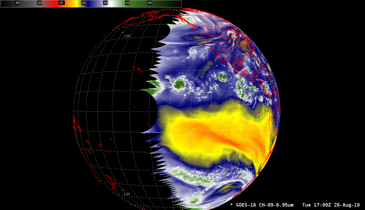 GOES-16 (GOES-East) Mid-level Water Vapor (6.9 µm) image [click to enlarge]