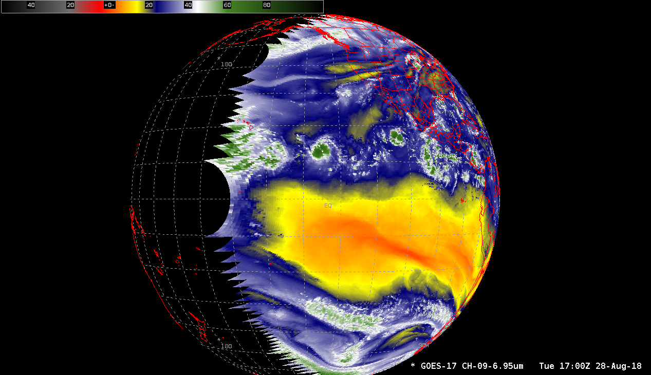 GOES-17 Mid-level Water Vapor image, viewed in the operational GOES-West perspective [click to enlarge]