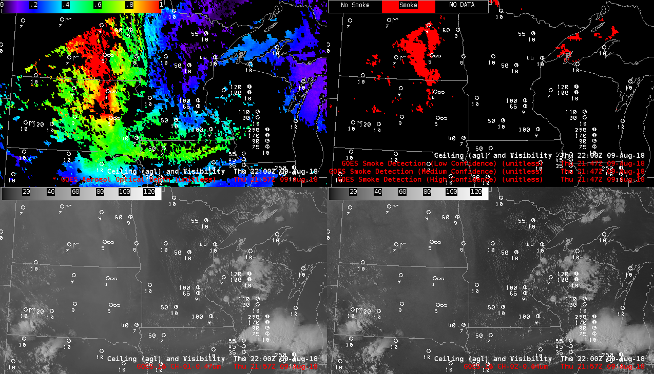 GOES-16 Aerosol Optical Depth (top left), Smoke Detection product (top right).