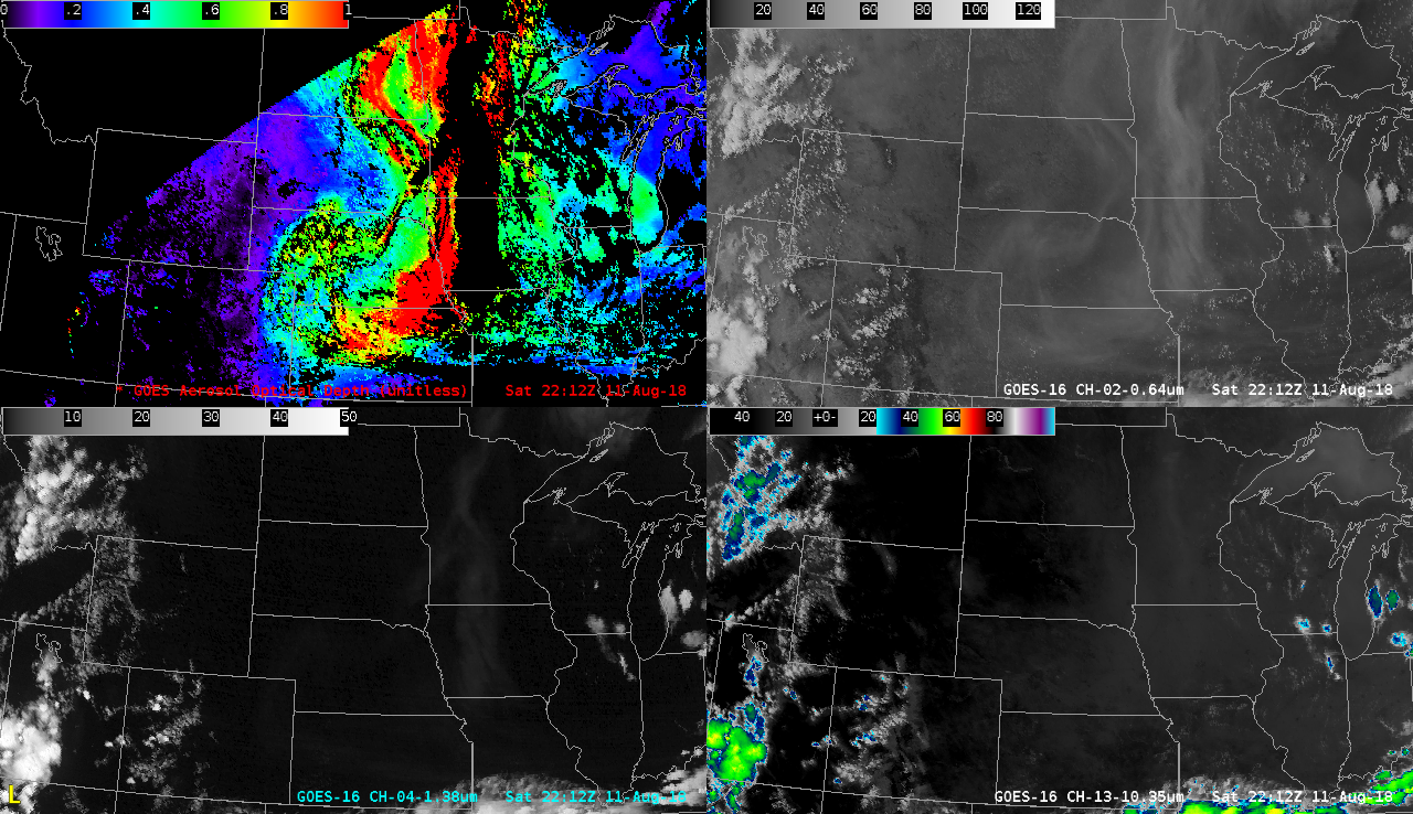 """GOES-16 Aerosol Optical Depth (top left), """"Red"""" Visible (0.64 µm, top right). Near-Infrared """"Cirrus"""" (1.37 µm, bottom left) and """"Clean"""" Infrared Window (10.3 µm, bottom right) [click to play animation 