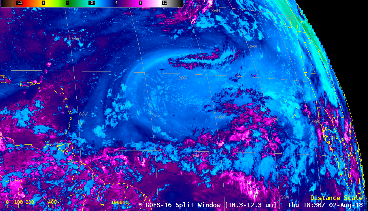 GOES-16 Split Window 10.3 µm - 12.3 µm) images [click to play animation | MP4]