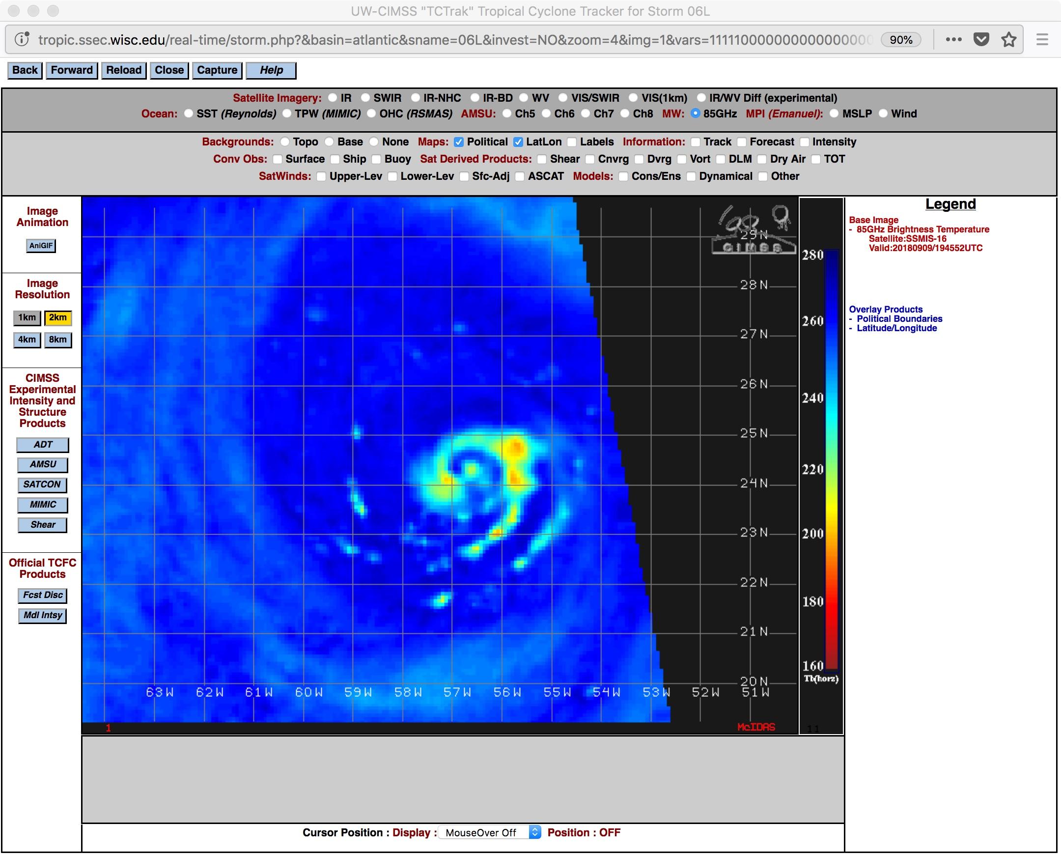 DMSP-16 SSMIS Microwave (85 GHz) image at 1845 UTC [click to enlarge]