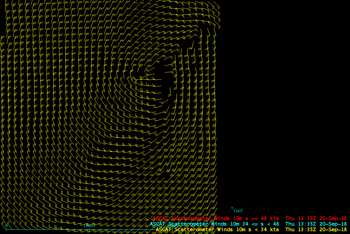 Metop-A ASCAT surface scatterometer winds [click to enlarge]