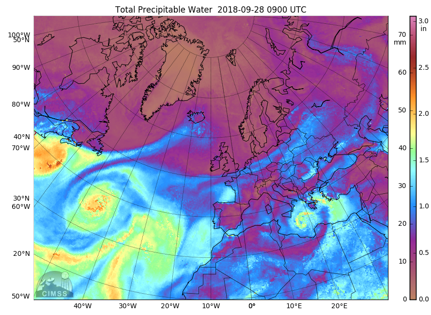 MIMIC morphed Total Precipitable Water images, 27-29 September [click to play animation | MP4]