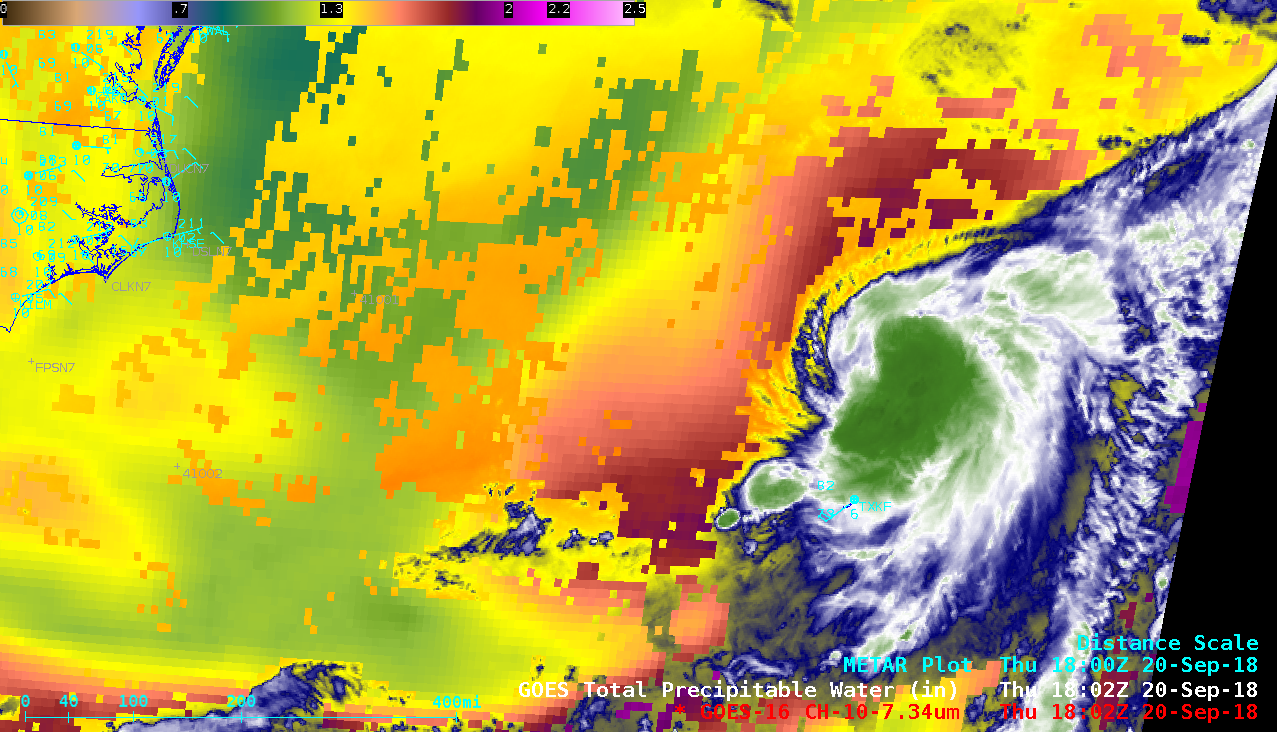 GOES-16 Low-level Water Vapor (7.3 µm) images + Total Precipitable Water derived product [click to play MP4 animation]