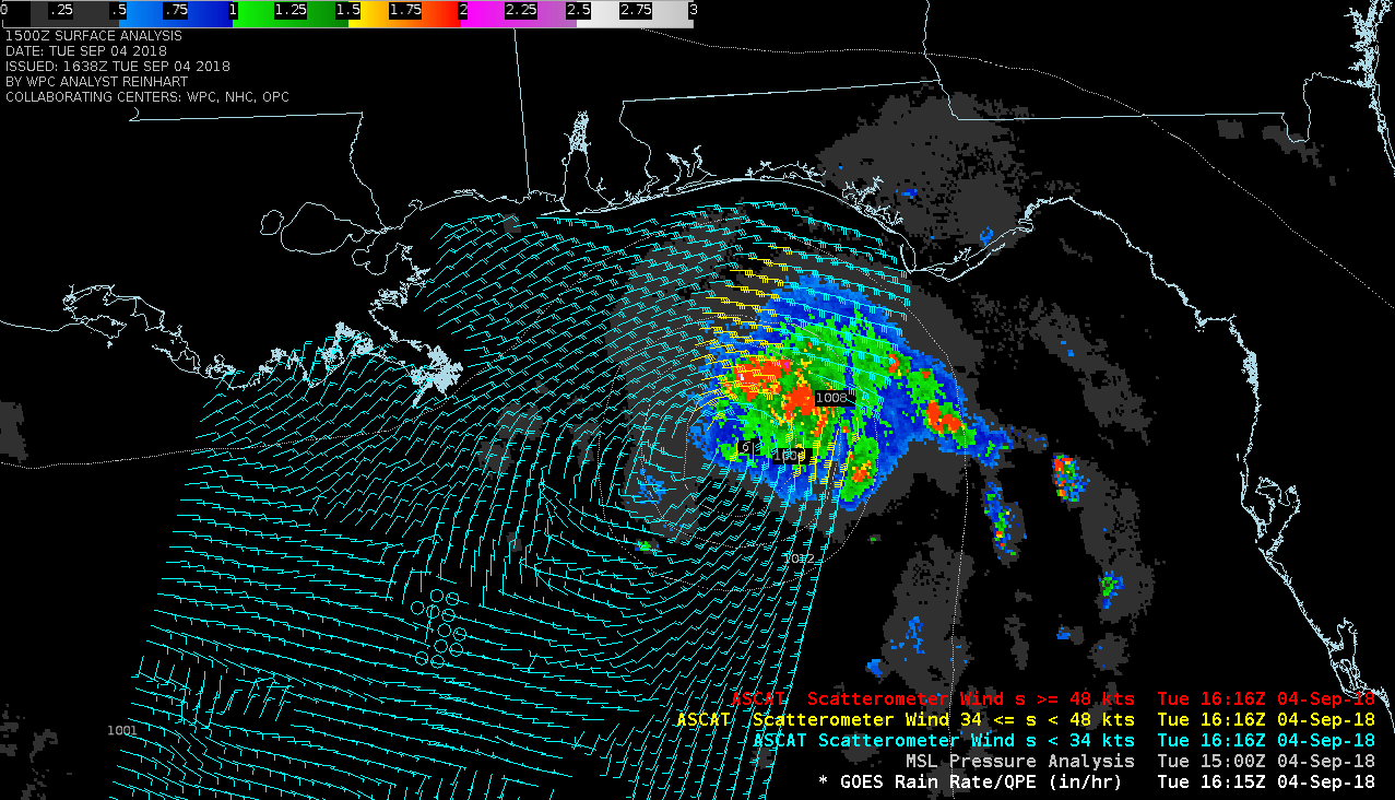 GOES-16 Rain Rate product with Metop ASCAT winds [click to enlarge]