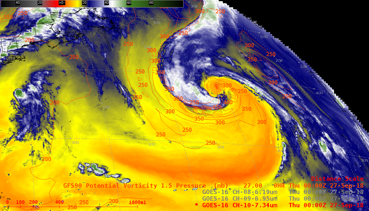 GOES-16 Low-level (7.3 µm) Water Vapor images, with contours of the PV1.5 pressure surface plotted in red [click to play animation | MP4]