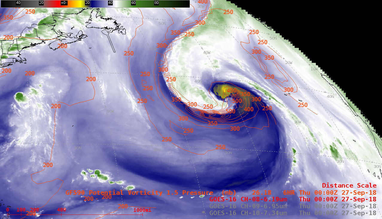 GOES-16 Upper-level (6.2 µm) Water Vapor images, with contours of the PV1.5 pressure surface plotted in red [click to play animation | MP4]