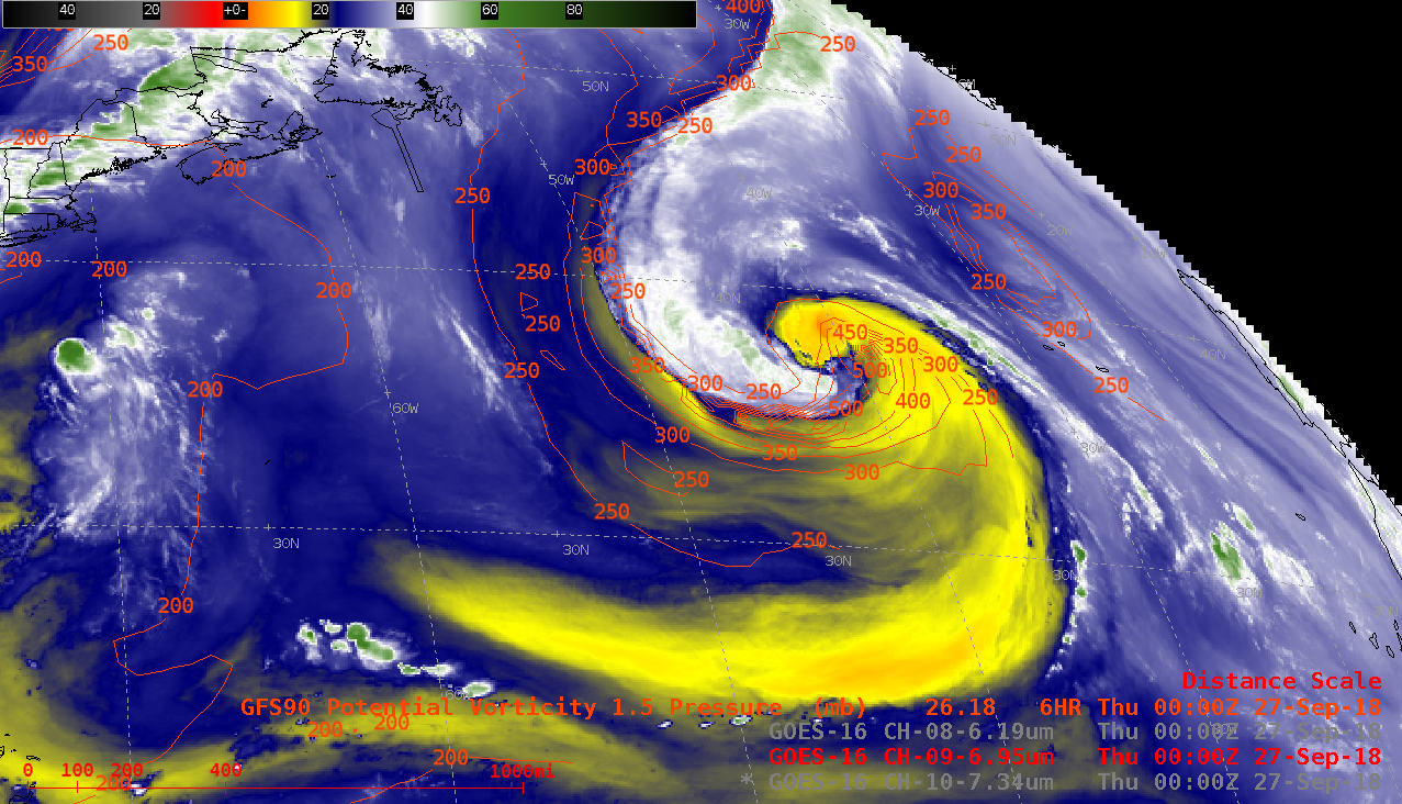 GOES-16 Mid-level (6.9 µm) Water Vapor images, with contours of the PV1.5 pressure surface plotted in red [click to play animation | MP4]