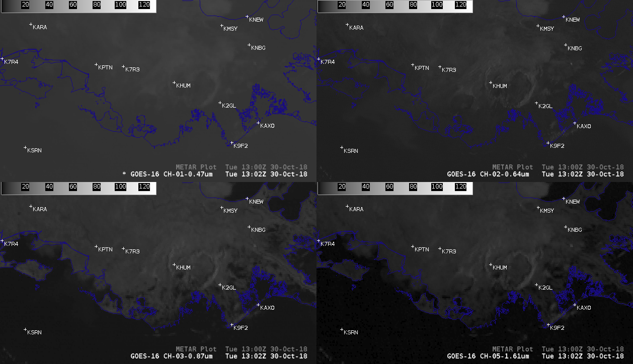 4-panel comparisons of GOES-16