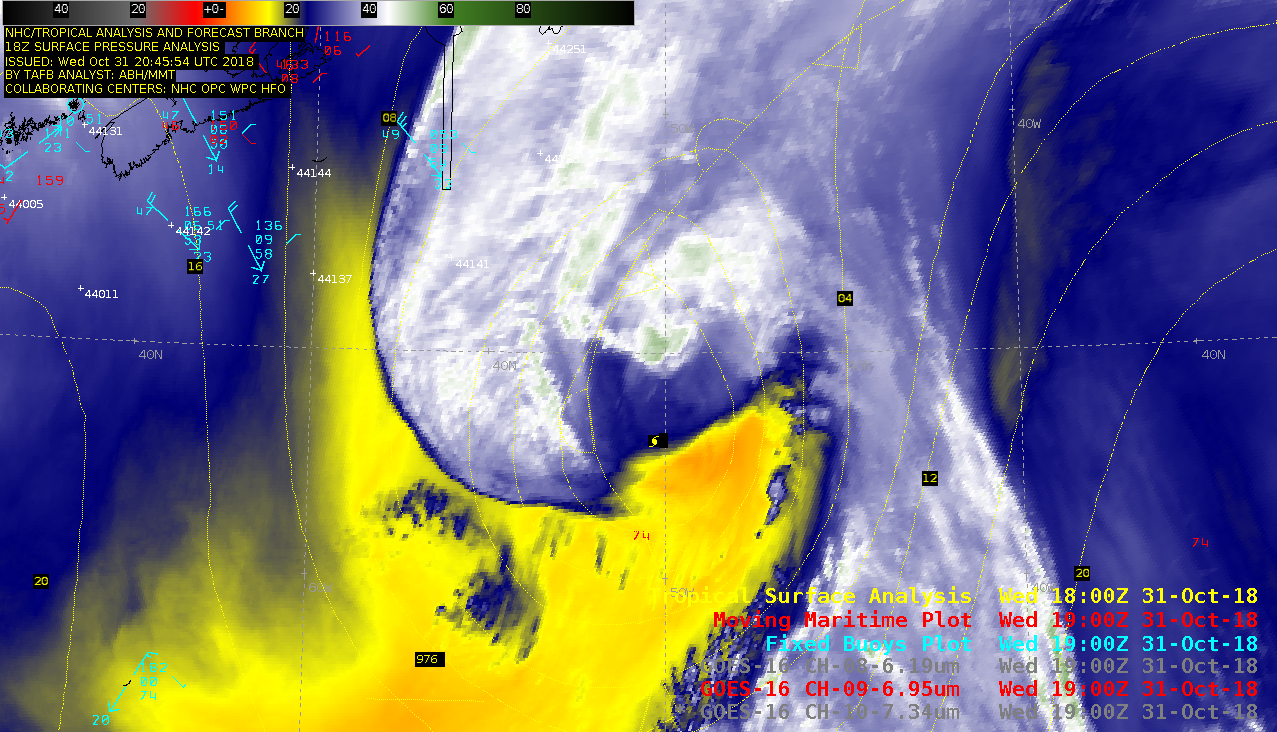 Sequence of GOES-16 Low-level (7.3 µm), Mid-level (6.9 µm) and Upper-level (6.2 µm) Water Vapor images [click to play MP4 animation]