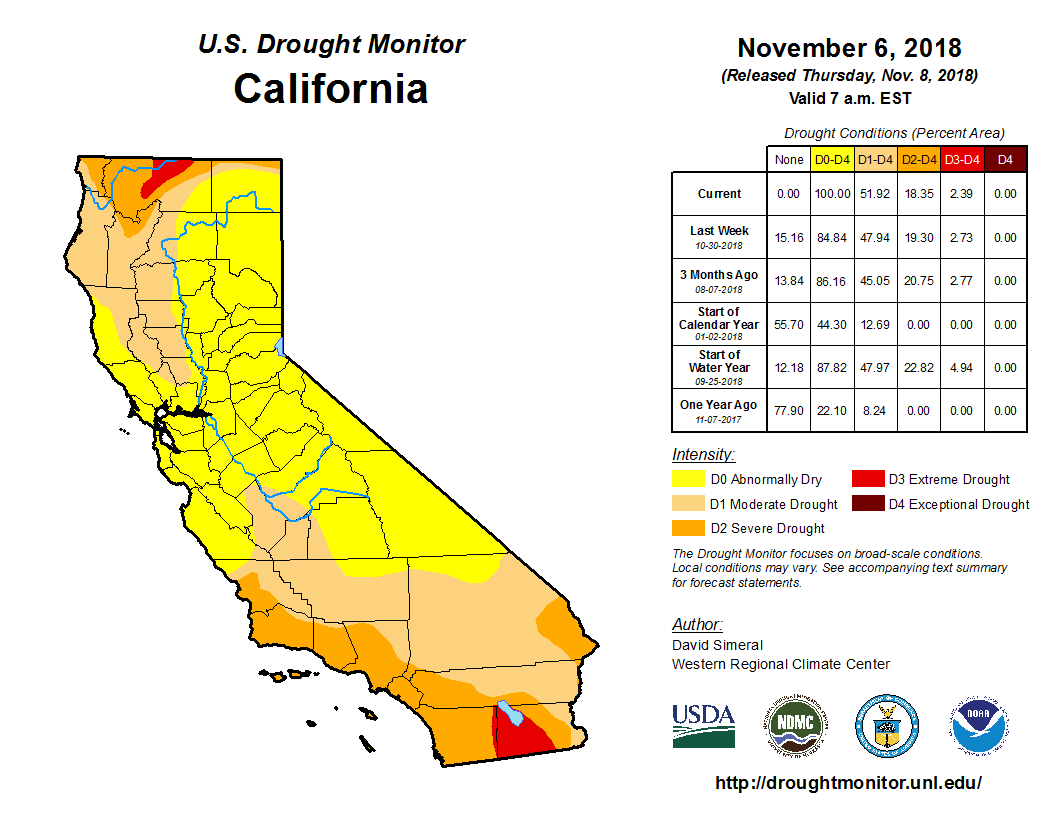 US Drought Monitor conditions as of 06 November [click to enlarge]