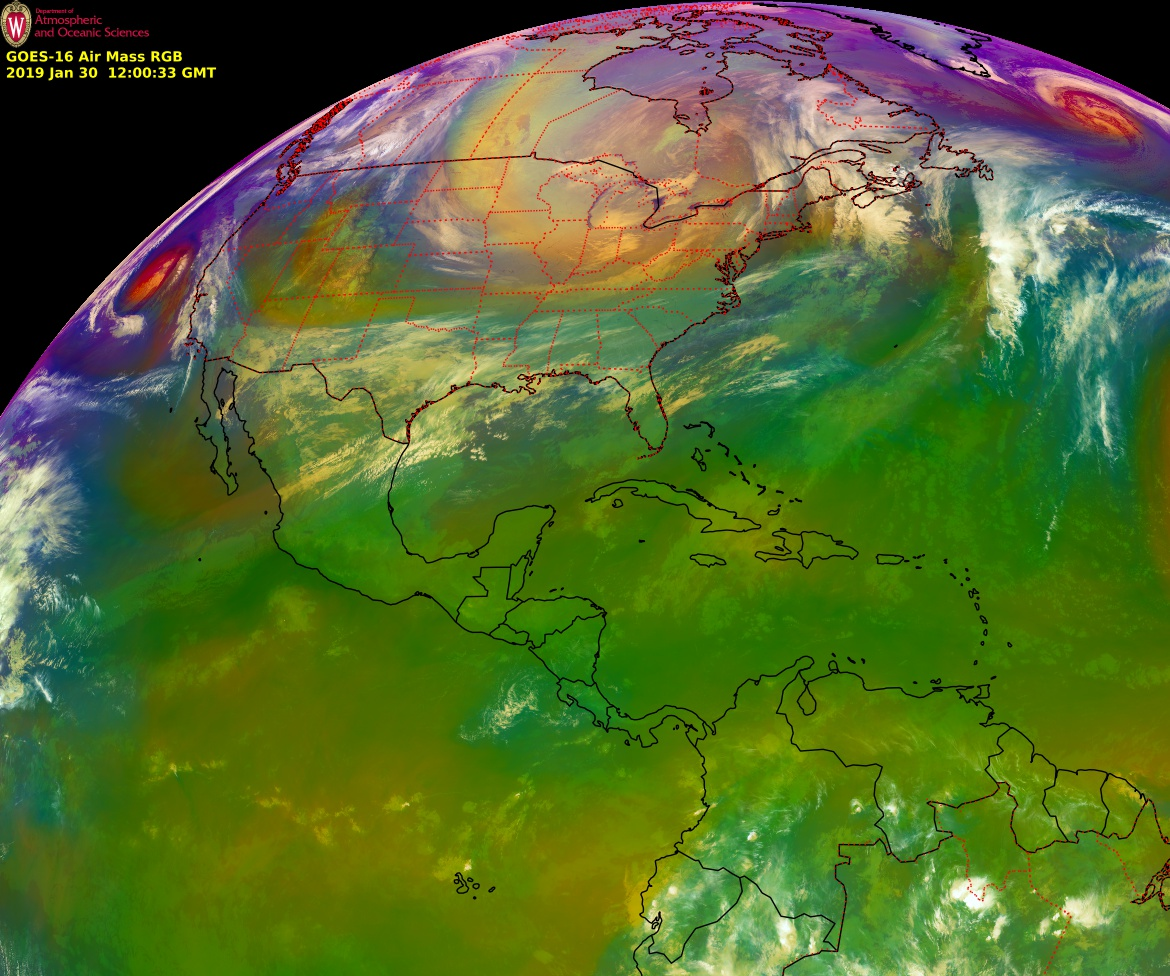 GOES-16 Air Mass RGB images, 28-30 January [click to play MP4 animation]