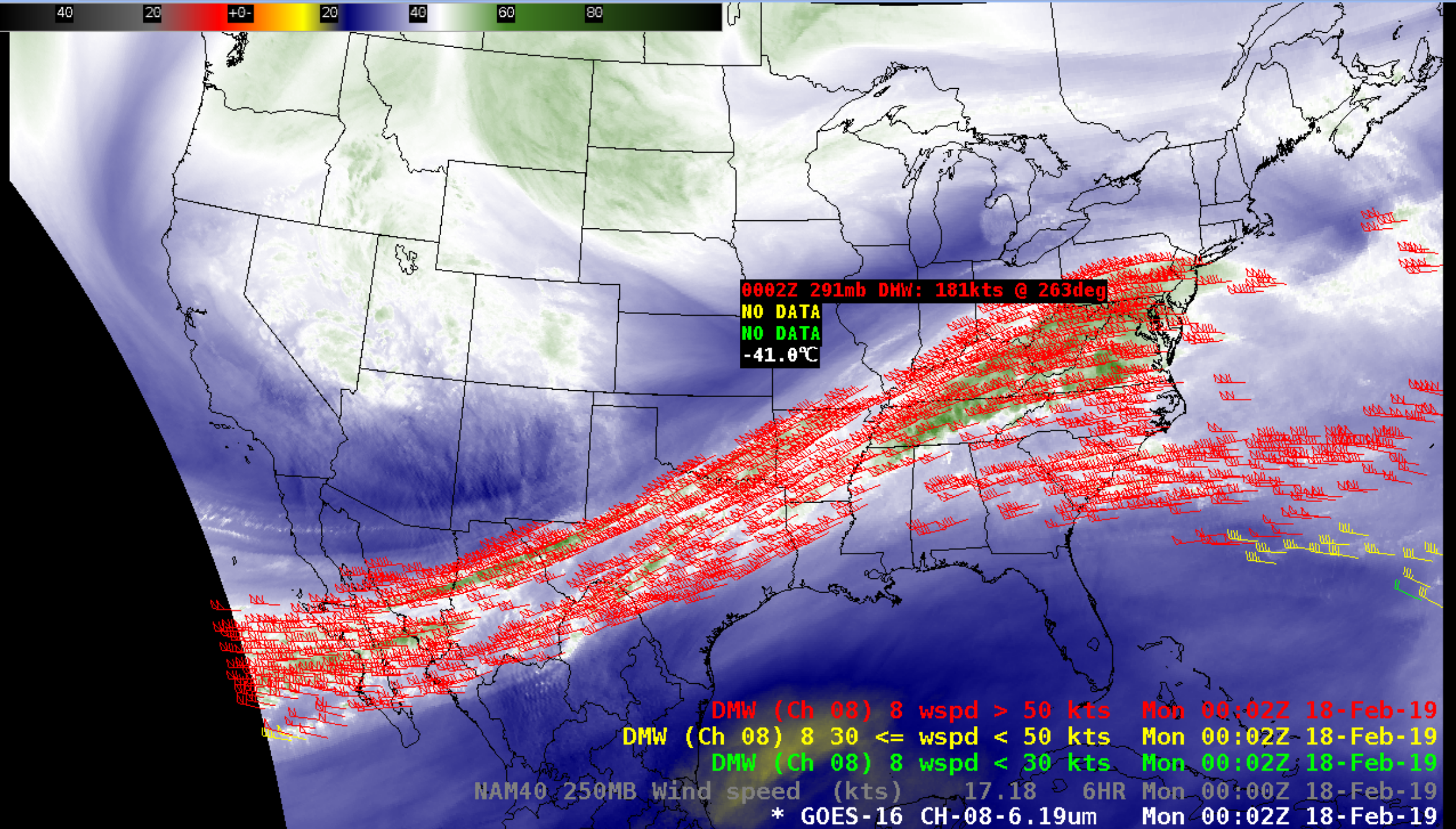 GOES-16 Upper-level Water Vapor (6.2 µm) image, with plots of Derived Motion Winds at 0002 UTC [click to enlarge]