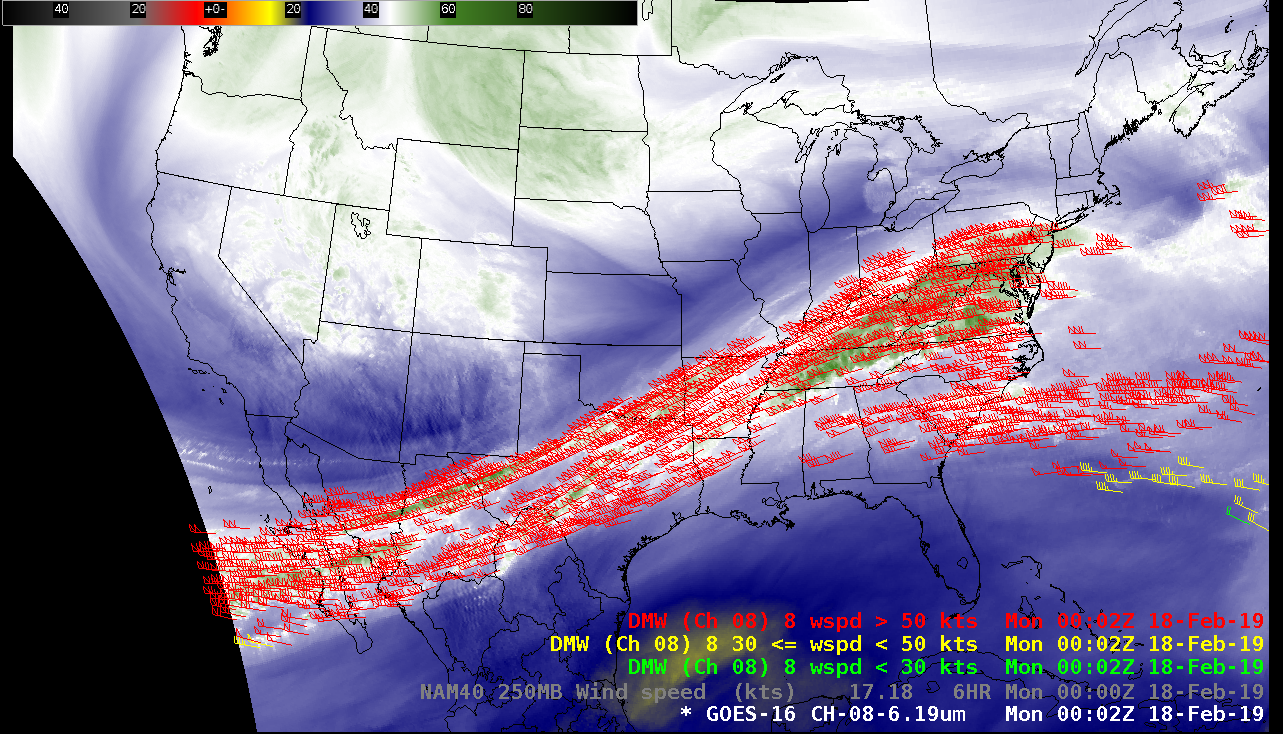 GOES-16 Upper-level Water Vapor (6.2 µm) images, with plots of Derived Motion Winds [click to play animation   MP4]