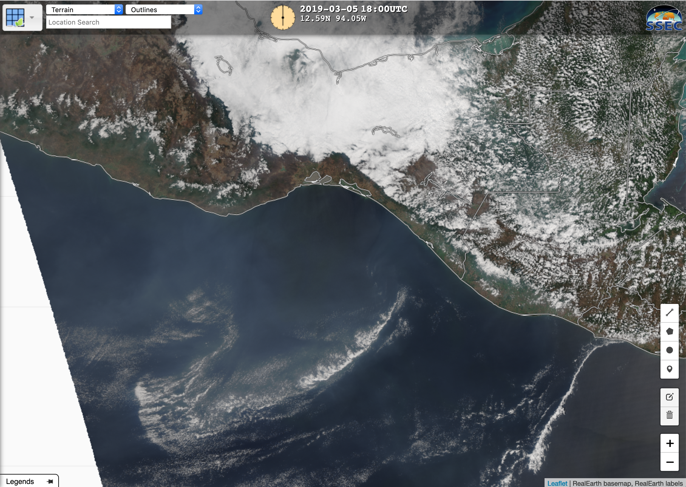 NOAA-20 VIIRS True Color Red-Green-Blue (RGB) image [click to enlarge]