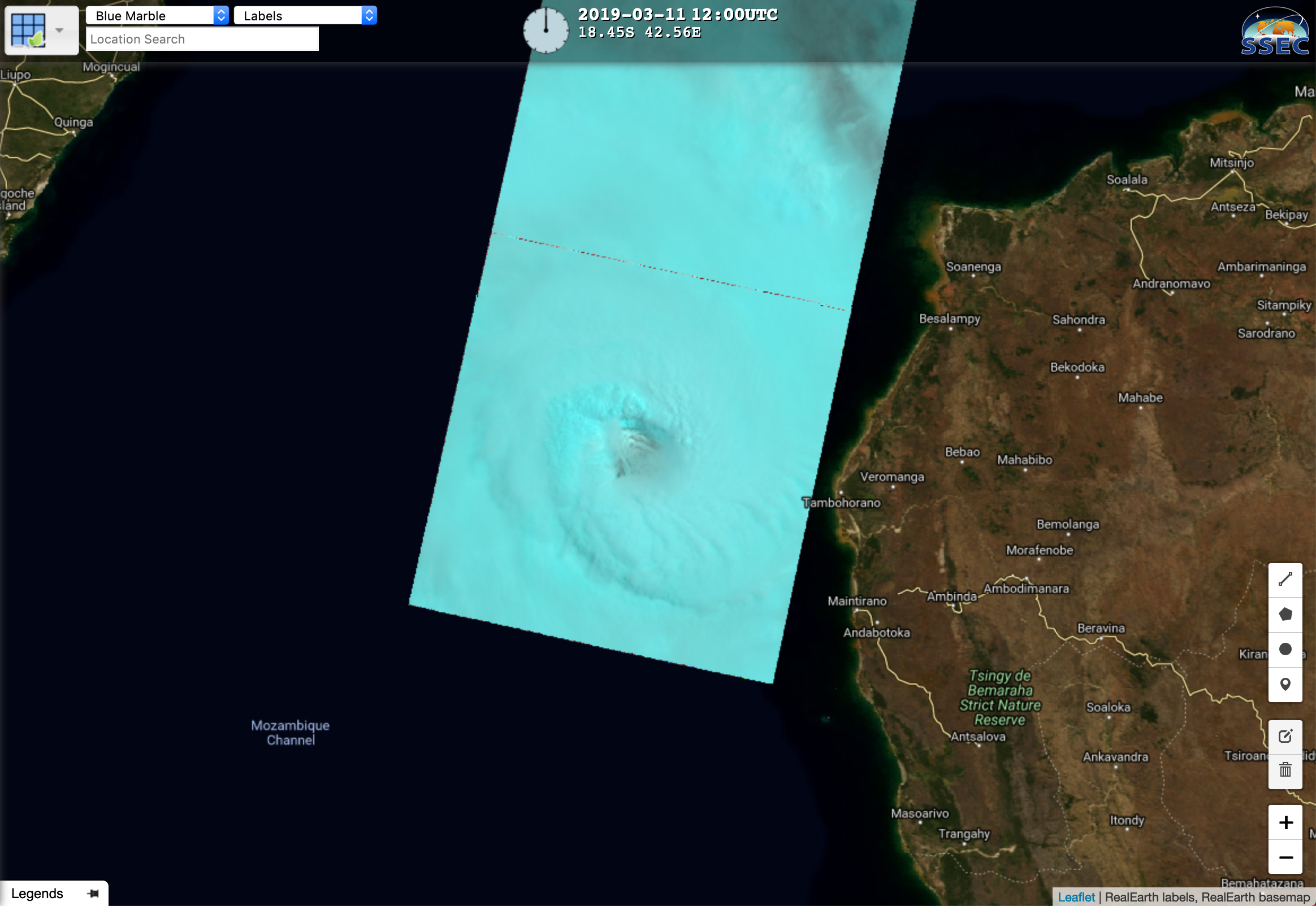 Landsat-8 False Color image of the eye of Idai on 11 March [click to play a zooming animation]