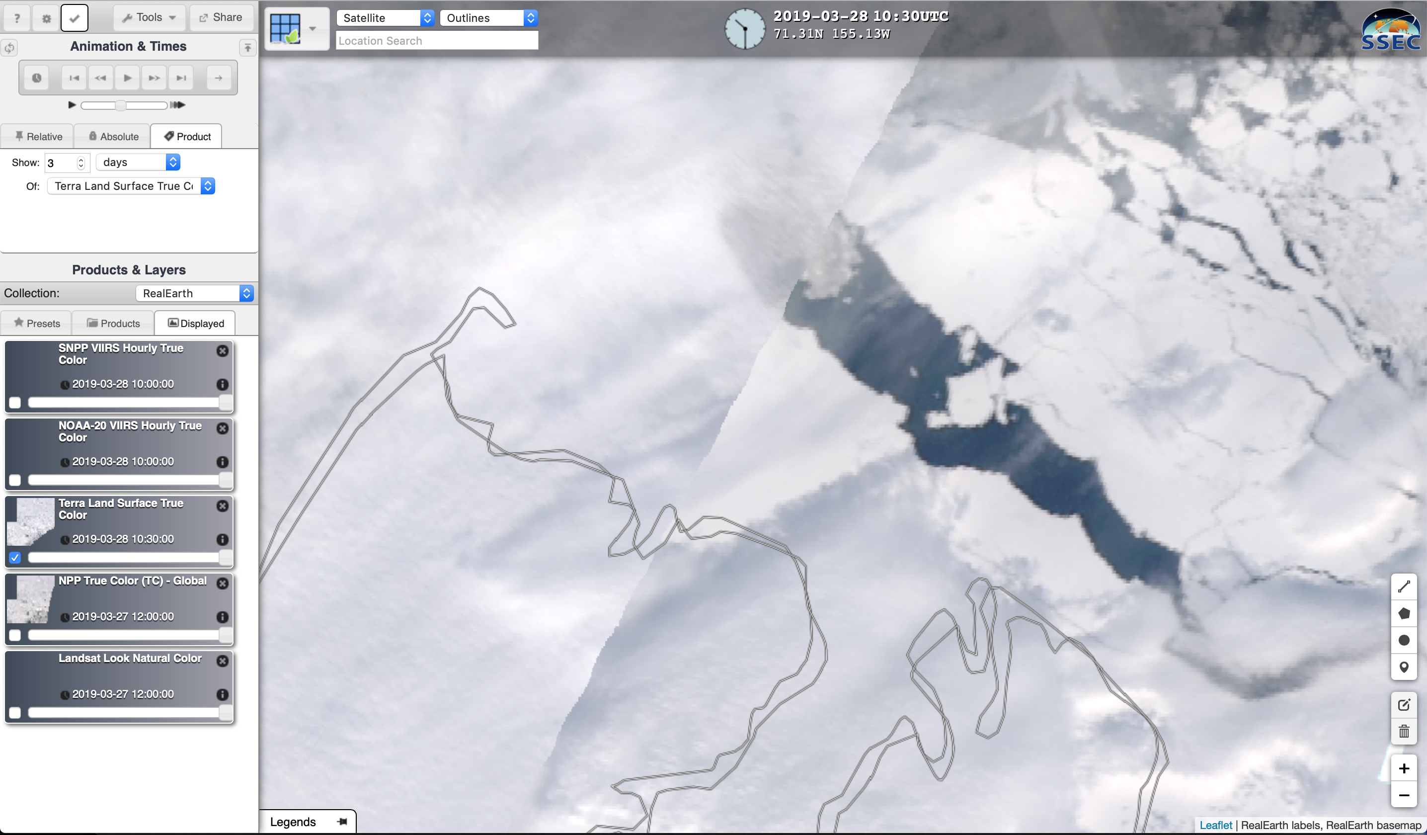 Daily composites of Terra MODIS True Color RGB images, 15-28 March [click to play animation]