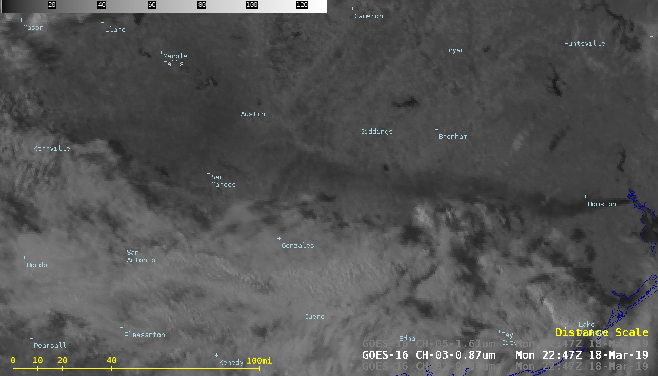 """GOES-16 """"Red"""" Visible (0.64 µm), Near-Infrared """"Vegetation"""" (0.86 µm) and Near-Infrared """"Snow/Ice"""" (1.61 µm) images [click to play animation   MP4]"""
