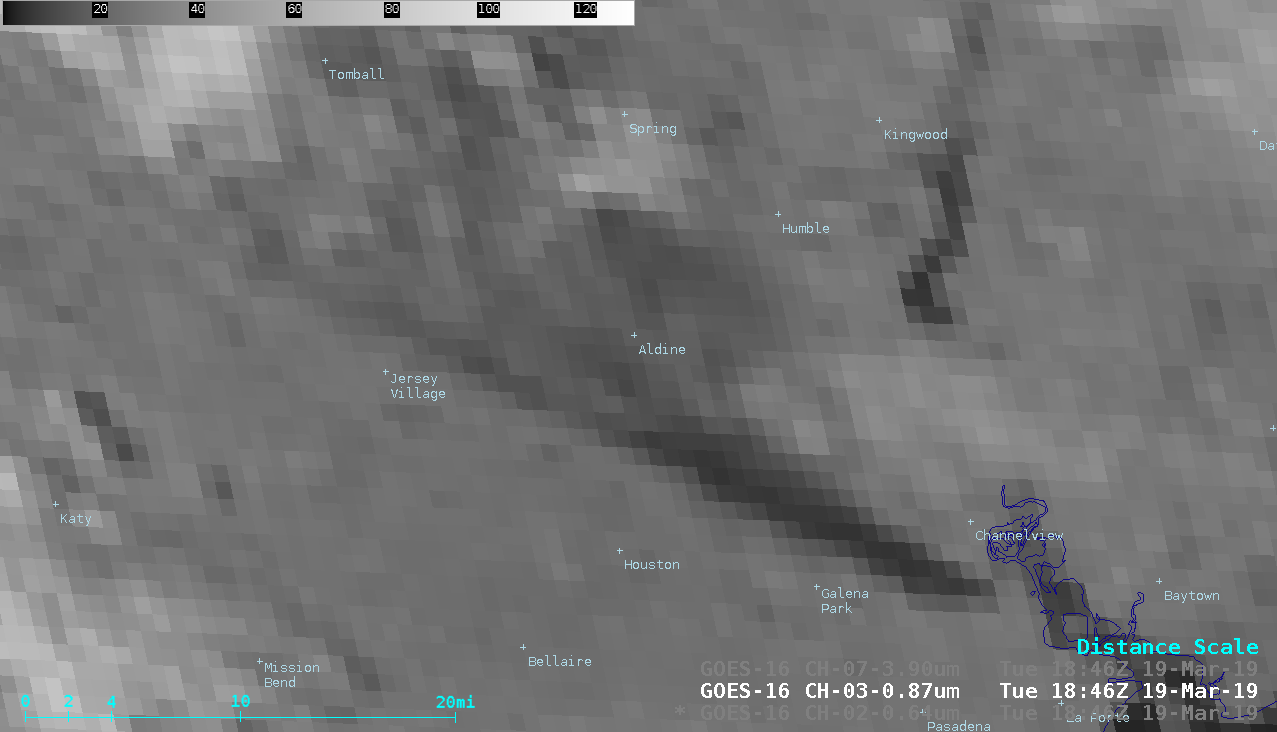 """GOES-16 """"Red"""" Visible (0.64 µm), Near-Infrared """"Vegetation"""" (0.86 µm), and Shortwave Infrared (3.9 µm) images [click to play animation   MP4]"""